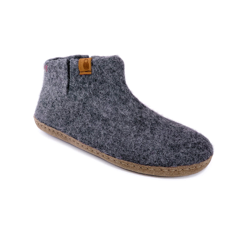 Wool Bootie with Leather Sole - Dark Gray