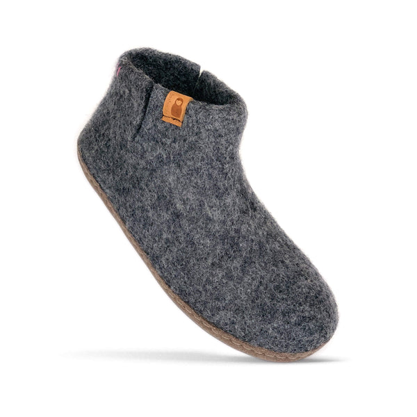 Baabushka fair trade sustainable felted wool bootie with leather soles - dark gray, eco-friendly wool slipper