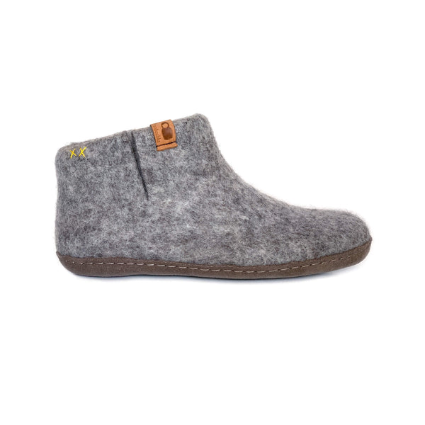 Wool Bootie with Leather Sole - Light Gray