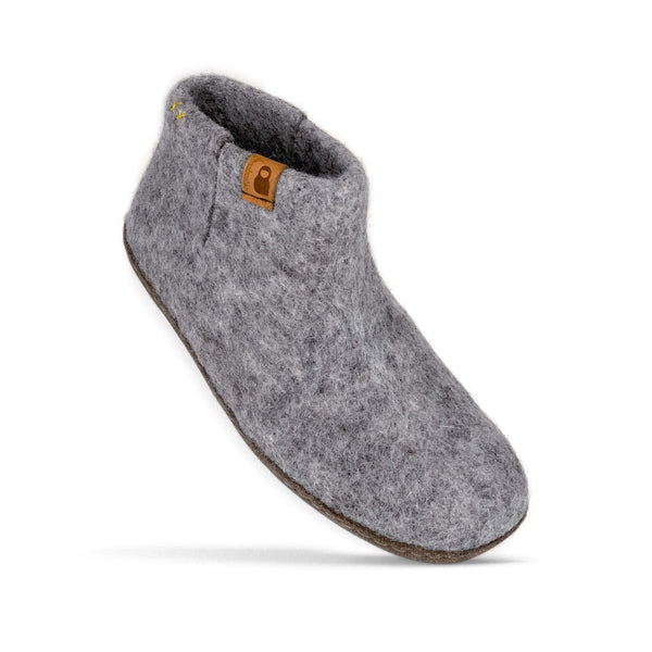 Baabushka fair trade sustainable felted wool bootie with leather soles - light gray, eco-friendly wool slipper