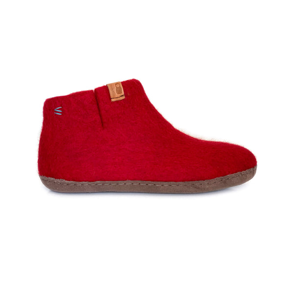 Wool Bootie with Leather Sole - Red