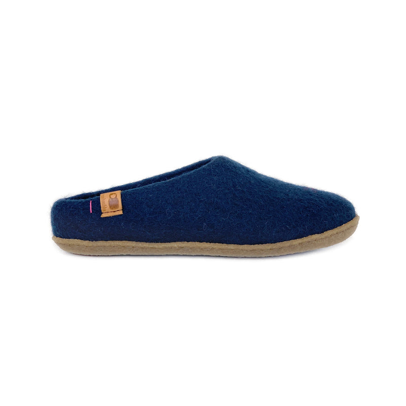 Wool Slipper with Rubber Sole - Navy