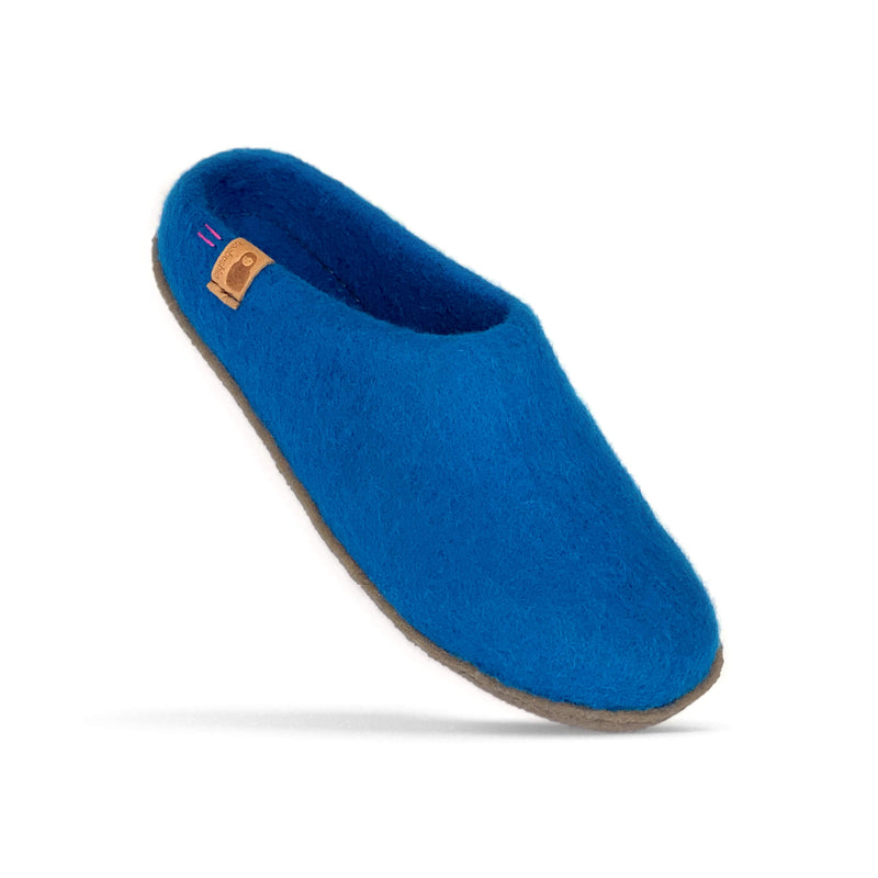 Wool Slipper with Rubber Sole - Light Blue