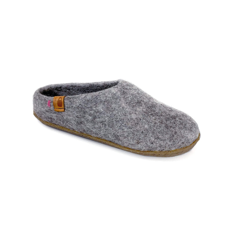 Wool Slipper with Rubber Sole - Light Gray