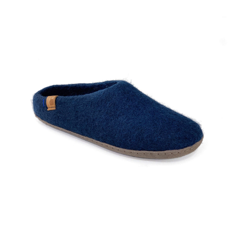 Wool Slipper with Leather Sole - Navy