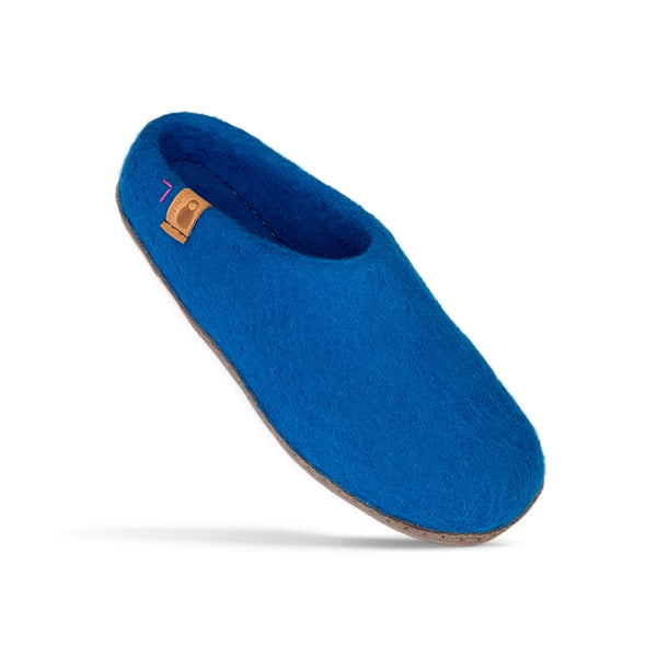 Wool Slipper with Leather Sole - Bright Blue