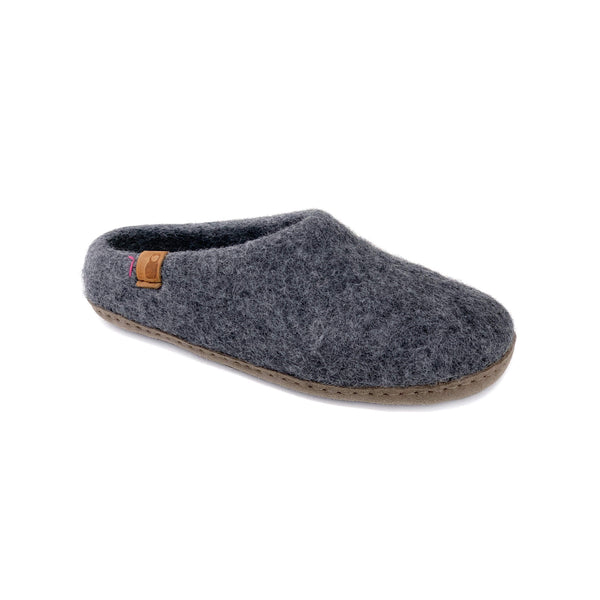 Wool Slipper with Leather Sole - Dark Gray