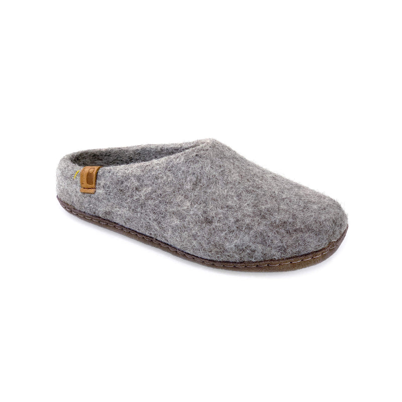 Wool Slipper with Leather Sole - Light Gray