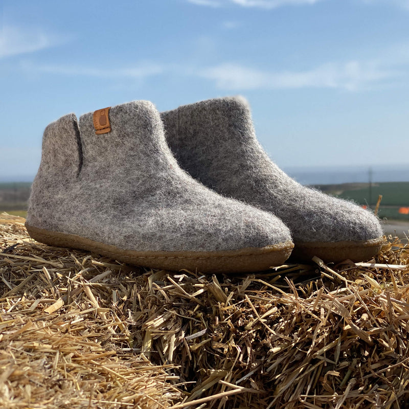 Wool Bootie with Rubber Sole - Light Gray