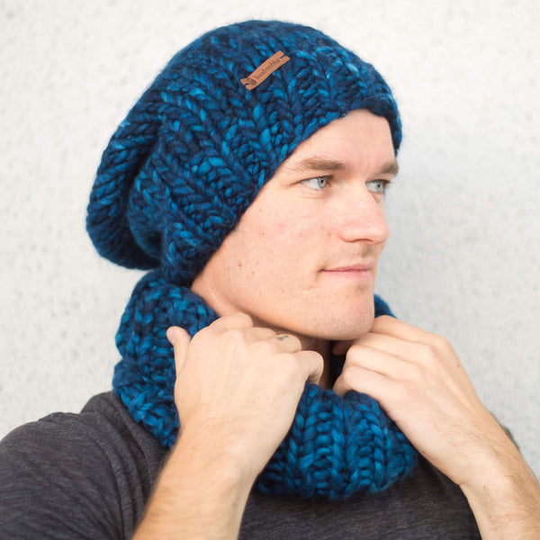 Men's Slouchy Merino Wool Reversible Beanie - Midnight Blue