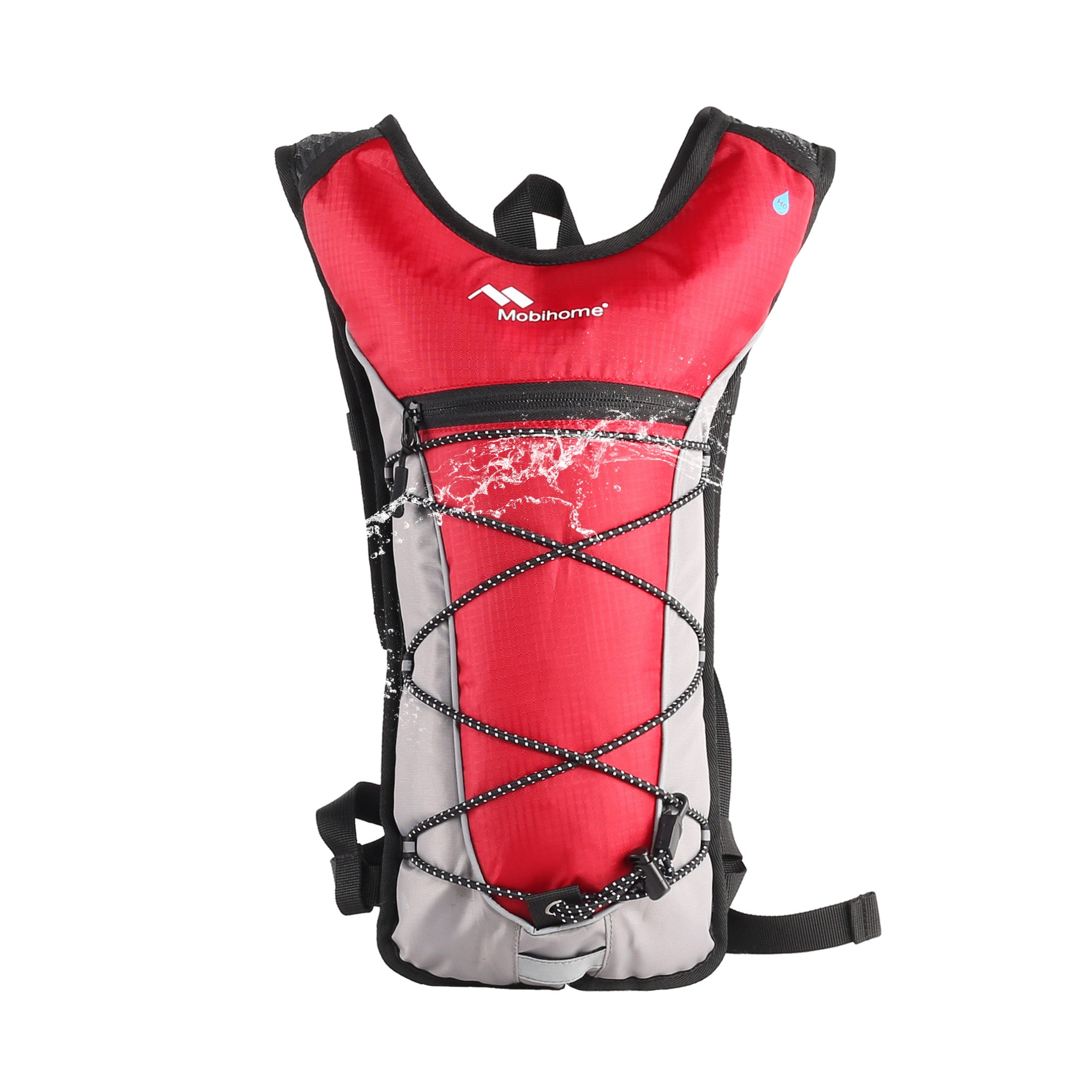 MOSOS Cycling Hydration Pack Water Backpack Hiking Climbing Pouch with 2L Hydration Bladder Red