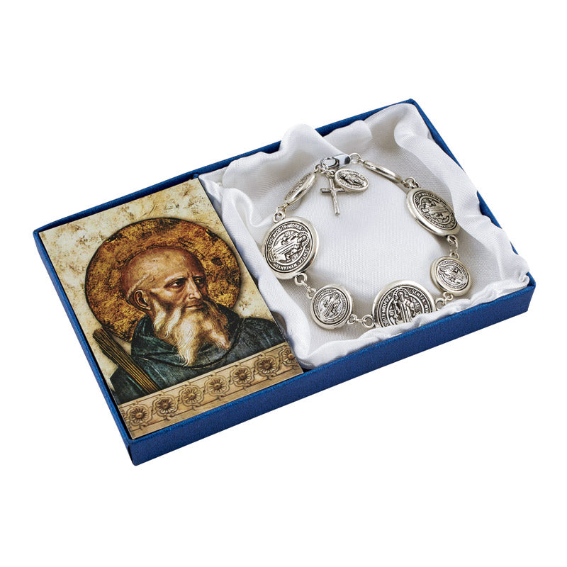 St. Benedict Coin Bracelet with Prayer Card