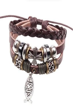 Jesus Leather Bracelet