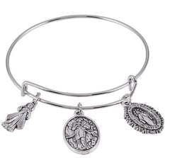 Mary, Untier of Knots, Divine Mercy and Miraculous Bangle Bracelet