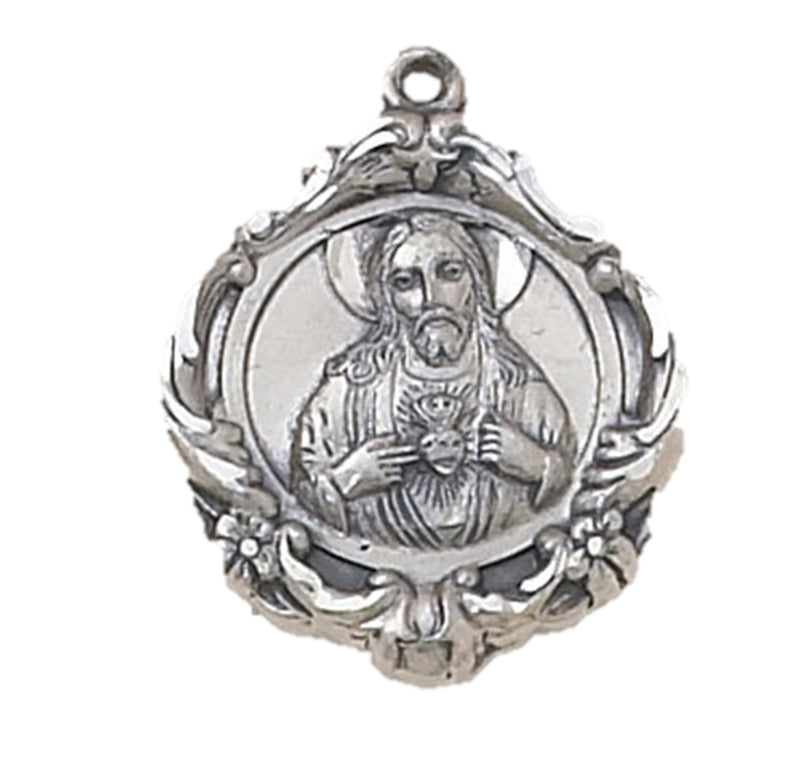 "Scapular Medal - 24"" Silver Chain"