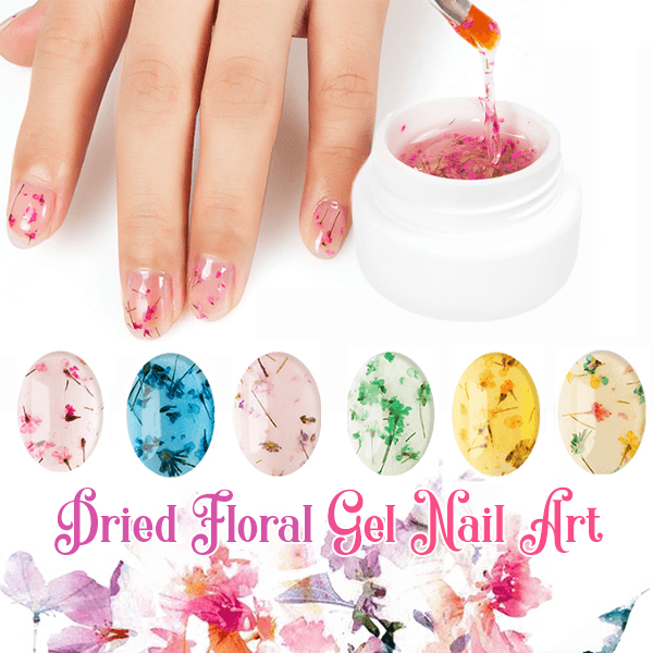 Dried Floral Gel Nail Art