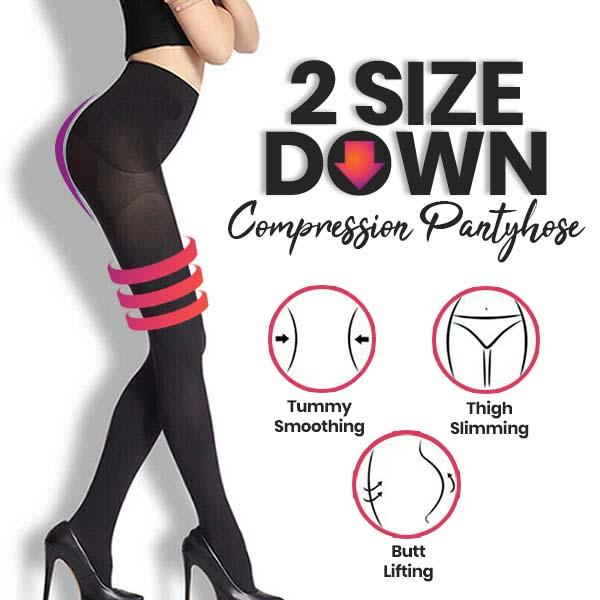 Instant 2-Size Down Compression Pantyhose
