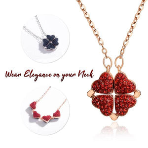 Heart Clover Crystal Necklace