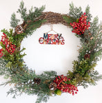 Merry Christmas Holly Berry Wreath