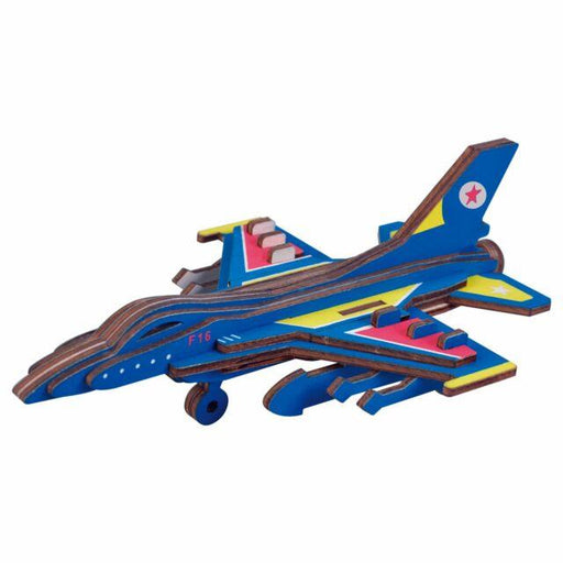 Shop Natural Wood 3D Puzzle F-16 Fighter Plane Wooden Jigsaw Craft Building Set - Aliens Poop
