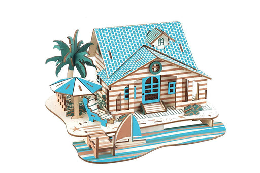 Shop Natural Wood 3D Puzzle Tiny House Collection Wooden Jigsaw Craft Building Set (Bali Island Villa) - Aliens Poop