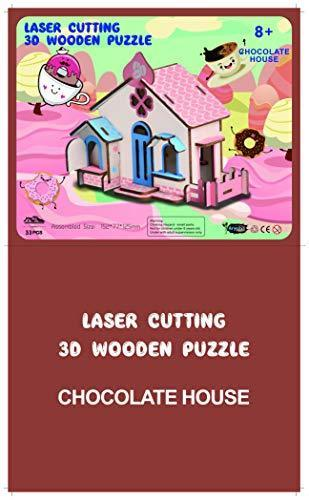Shop Natural Wood 3D Puzzle Tiny House Collection Wooden Jigsaw Craft Building Set (Chocolate House) - Aliens Poop