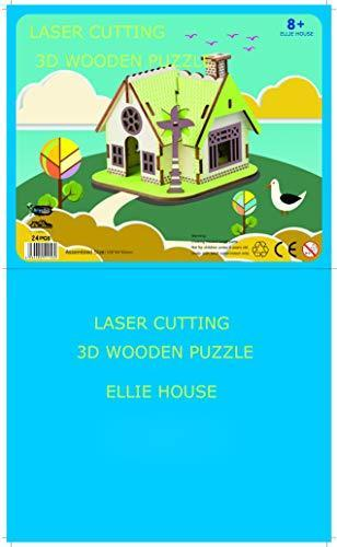 Shop Natural Wood 3D Puzzle Tiny House Collection Wooden Jigsaw Craft Building Set (Ellie House) - Aliens Poop