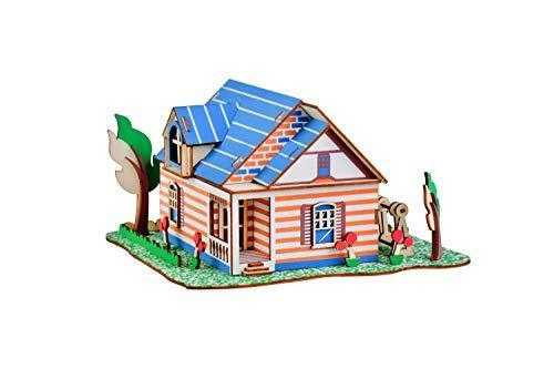 Shop Natural Wood 3D Puzzle Tiny House Collection Wooden Jigsaw Craft Building Set (Fontainebleau Villa) - Aliens Poop