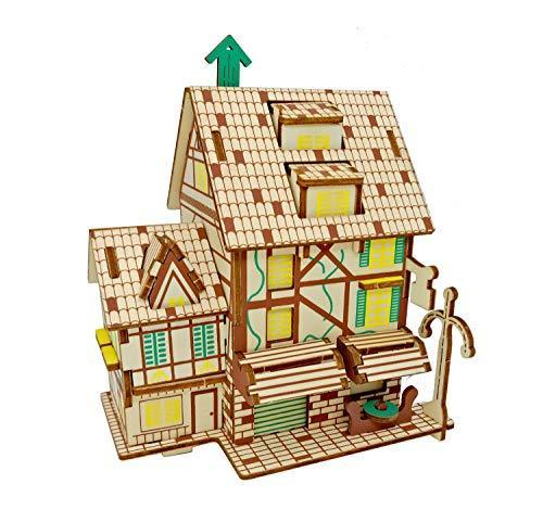 Shop Natural Wood 3D Puzzle Tiny House Collection Wooden Jigsaw Craft Building Set (French CAFE) - Aliens Poop