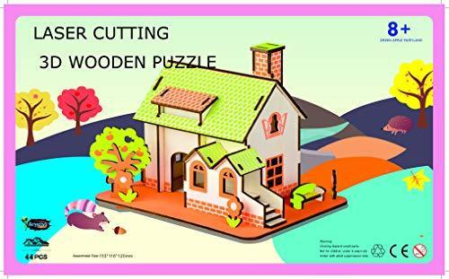 Shop Natural Wood 3D Puzzle Tiny House Collection Wooden Jigsaw Craft Building Set (Green Apple Fairyland) - Aliens Poop