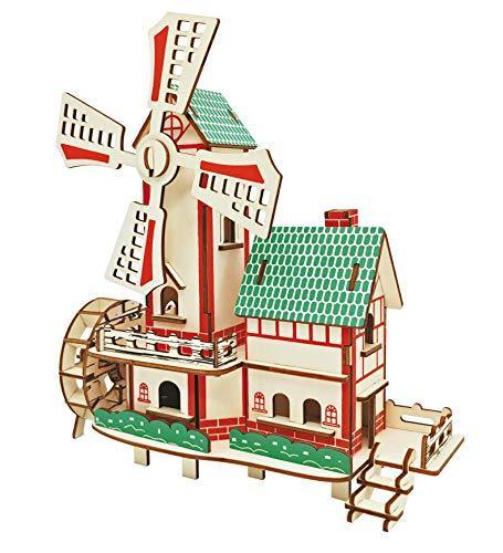 Shop Natural Wood 3D Puzzle Tiny House Collection Wooden Jigsaw Craft Building Set (Lucky Windmill) - Aliens Poop