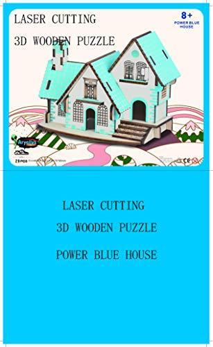 Shop Natural Wood 3D Puzzle Tiny House Collection Wooden Jigsaw Craft Building Set (Power Blue House) - Aliens Poop