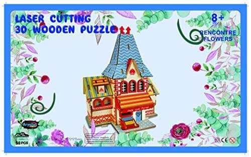 Shop Natural Wood 3D Puzzle Tiny House Collection Wooden Jigsaw Craft Building Set (Rencontre Flowers) - Aliens Poop