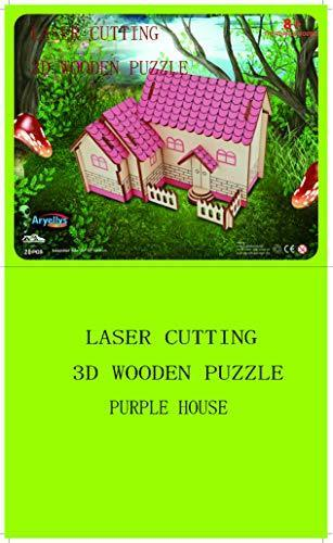Shop Natural Wood 3D Puzzle Tiny House Collection Wooden Jigsaw Craft Building Set (The Purple House) - Aliens Poop