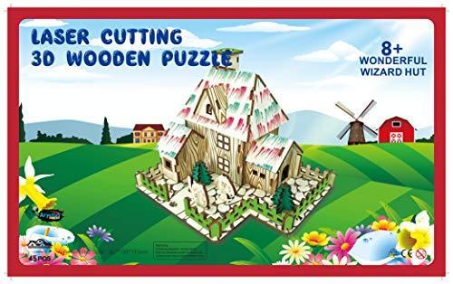 Shop Natural Wood 3D Puzzle Tiny House Collection Wooden Jigsaw Craft Building Set (Wonderful Wizard Hut) - Aliens Poop