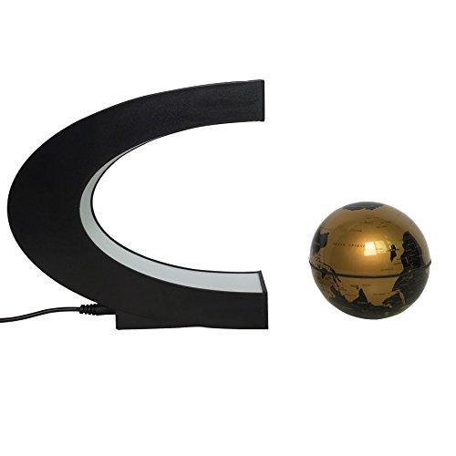 Shop Levitation Gold Globe with LED Lights C Shape Magnetic Floating World Map - Aliens Poop