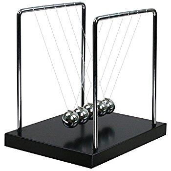 "Shop Newton's Cradle 5.5"" Metal balls with black wooden base - Aliens Poop"