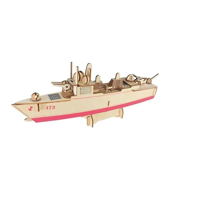 Shop Natural Wood 3D Puzzle Destroyer Ship Wooden Jigsaw Craft Building Set - Aliens Poop