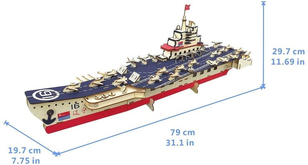 Shop Natural Wood 3D Puzzle 32 Inches Long Aircraft Carrier Ship Wooden Jigsaw Craft Building Set - Aliens Poop
