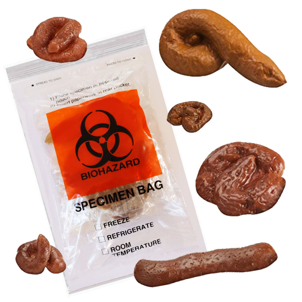 The Specimen Bag of Shit 5 sticky + 1 Floating Real looking Fake Poops-Aliens Poop