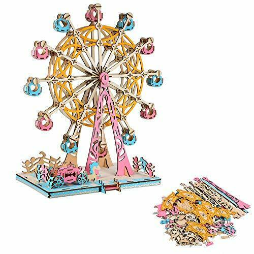 Shop Natural Wood 3D Puzzle Europa Ferris Wheel Wooden Jigsaw Craft Building Set - Aliens Poop