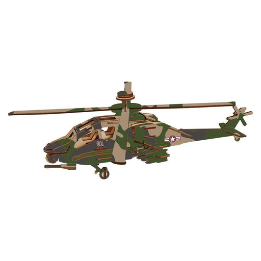 Shop Natural Wood 3D Puzzle Apache Helicopter Wooden Jigsaw Craft Building Set - Aliens Poop