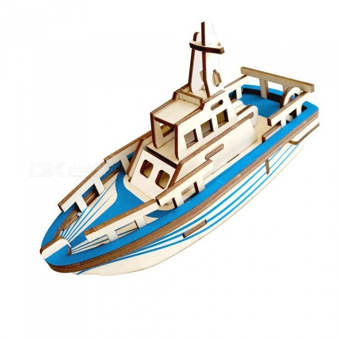 Natural Wood 3D Puzzle Boat Wooden Jigsaw Craft Building Set