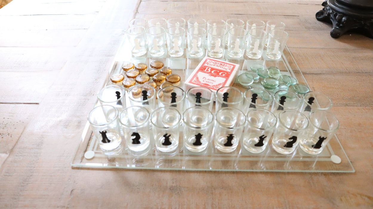 Shop 3-in-1 Shot Glass Chess Set Poker Playing Cards and Checkers for Party - Aliens Poop