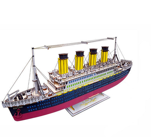 "Shop Natural Wood 3D Puzzle Titanic Ship 35"" Long Wooden Jigsaw Craft Building Set - Aliens Poop"