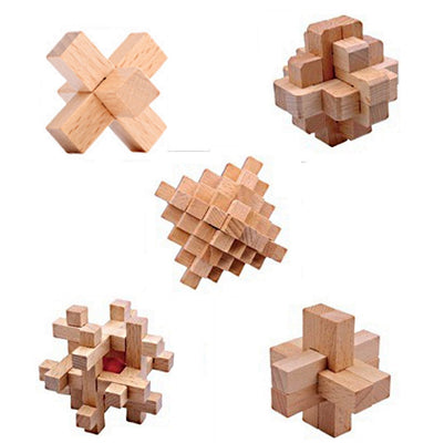 5 Pack Wood Puzzles Brain Challenge Puzzles for Kids and Adults Mixed Skill Levels…-Aliens Poop