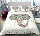 Colorful Elephant Head Zentangle Stylized Ornate Lace Duvet Cover Bedding Set