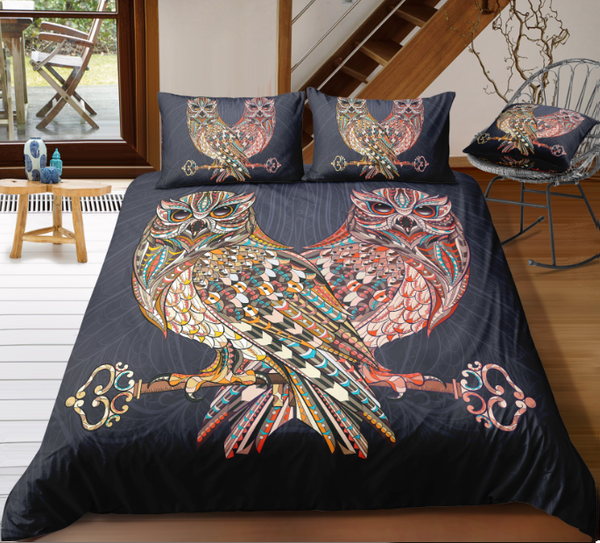Owl Zentangle Stylized Ornate Lace Duvet Cover Bedding Set - Bohemian Shrine