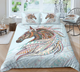 Horse Head Zentangle Stylized Ornate Lace Duvet Cover Bedding Set