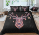 Deer Zentangle Stylized Ornate Lace Duvet Cover  Bedding Set